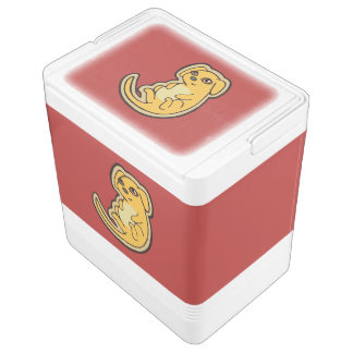 Diseño amarillo y rojo dulce del dibujo del perro hielera igloo