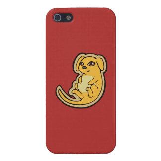 Diseño amarillo y rojo dulce del dibujo del perro iPhone 5 fundas