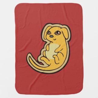 Diseño amarillo y rojo dulce del dibujo del perro manta de bebé