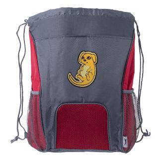 Diseño amarillo y rojo dulce del dibujo del perro mochila de cordón