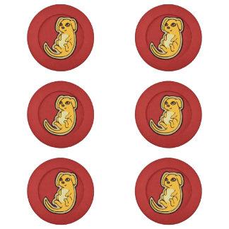 Diseño amarillo y rojo dulce del dibujo del perro paquete pequeño de tapa botones