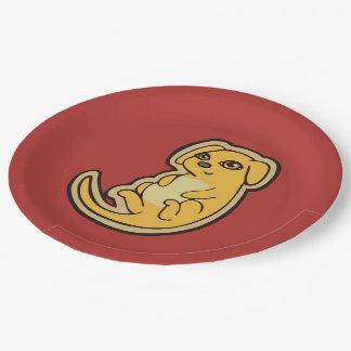 Diseño amarillo y rojo dulce del dibujo del perro platos de papel