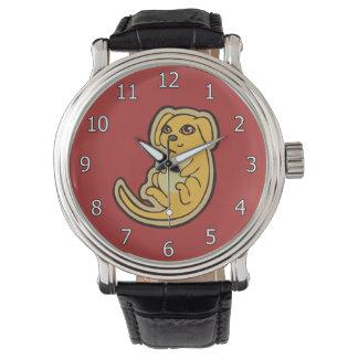 Diseño amarillo y rojo dulce del dibujo del perro reloj