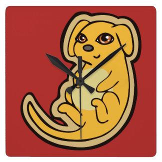 Diseño amarillo y rojo dulce del dibujo del perro reloj cuadrado
