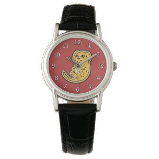 Diseño amarillo y rojo dulce del dibujo del perro relojes de mano