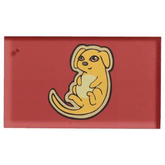 Diseño amarillo y rojo dulce del dibujo del perro soporte para tarjeta de mesa