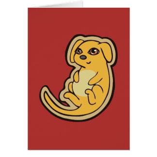 Diseño amarillo y rojo dulce del dibujo del perro tarjeta de felicitación