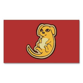 Diseño amarillo y rojo dulce del dibujo del perro tarjetas de visita magnéticas (paquete de 25)
