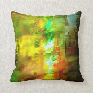 Diseño amarillo y verde abstracto cojín