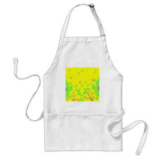 Diseño amarillo y verde brillante de la primavera delantal