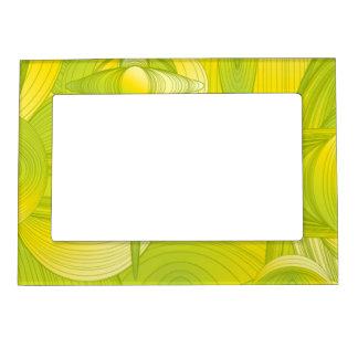 Diseño amarillo y verde del art déco marcos magneticos para fotos