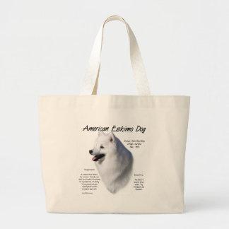 Diseño americano de la historia del perro esquimal bolsa de tela grande