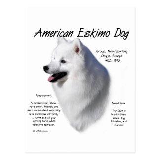 Diseño americano de la historia del perro esquimal tarjetas postales
