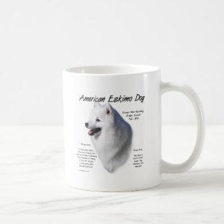 Diseño americano de la historia del perro esquimal tazas