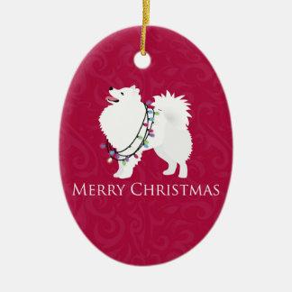 Diseño americano de las Felices Navidad del perro Adorno Navideño Ovalado De Cerámica