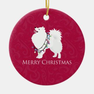 Diseño americano de las Felices Navidad del perro Adorno Navideño Redondo De Cerámica