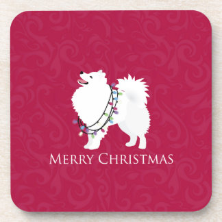Diseño americano de las Felices Navidad del perro Posavasos