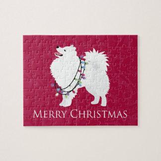 Diseño americano de las Felices Navidad del perro Puzzle