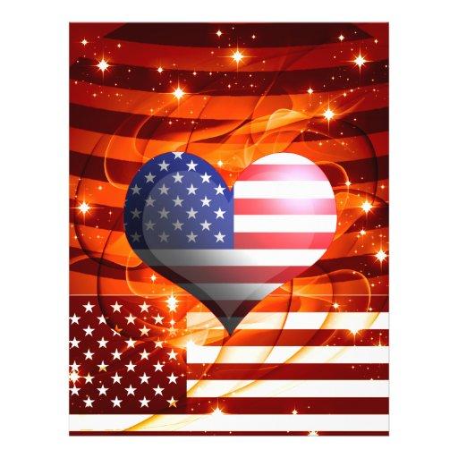 diseño americano del corazón del orgullo flyer personalizado