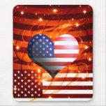 diseño americano del corazón del orgullo alfombrilla de ratón