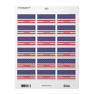 Diseño americano del patriota de la bandera del etiqueta de dirección