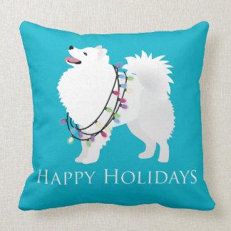 Diseño americano del perro esquimal buenas fiestas almohada