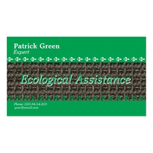 Diseño amistoso ecológico plantillas de tarjetas de visita