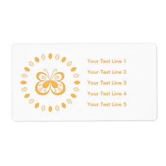 Diseño anaranjado de la mariposa etiqueta de envío