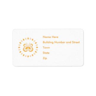Diseño anaranjado de la mariposa etiquetas de dirección