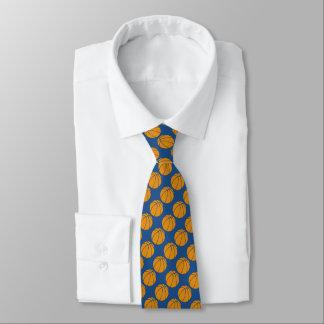 Diseño anaranjado del baloncesto en fondo azul corbatas