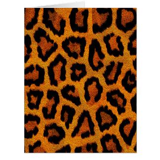 Diseño anaranjado del estampado de animales tarjeta de felicitación grande