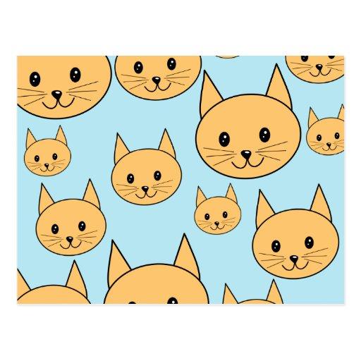 Diseño anaranjado del gato del jengibre postal