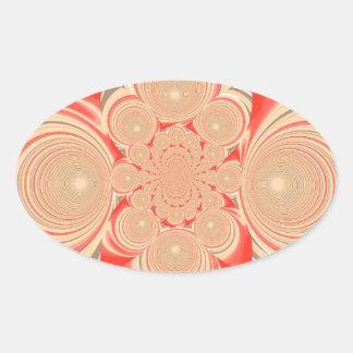 Diseño anaranjado del remolino pegatina ovalada