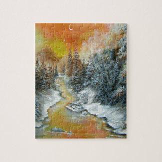Diseño anaranjado del resplandor del invierno puzzle con fotos