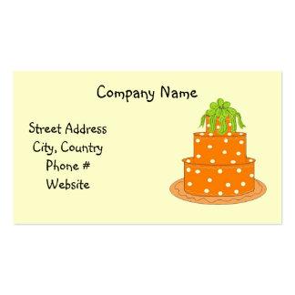 Diseño anaranjado moderno de la torta del lunar tarjetas de visita