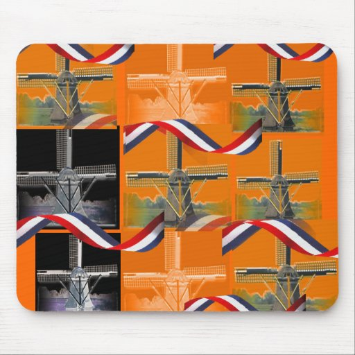 Diseño anaranjado Mousepad del molino de viento de Alfombrillas De Raton