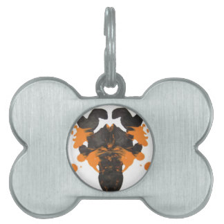 Diseño anaranjado soso de la mancha de tinta placa de nombre de mascota