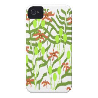 Diseño anaranjado verde retro iPhone 4 funda