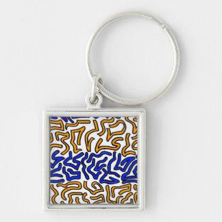 Diseño anaranjado y azul del doodle de la secuenci llaveros
