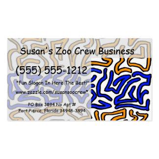 Diseño anaranjado y azul del doodle de la secuenci tarjetas de visita