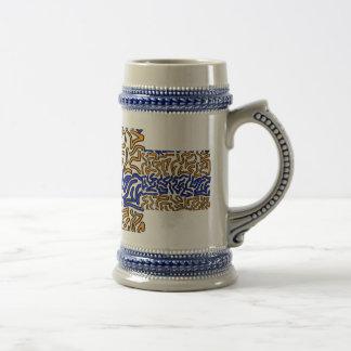 Diseño anaranjado y azul del doodle de la secuenci tazas de café