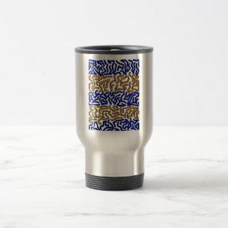 Diseño anaranjado y azul del doodle de la taza térmica