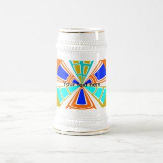 Diseño anaranjado y azul del rectángulo tazas de café