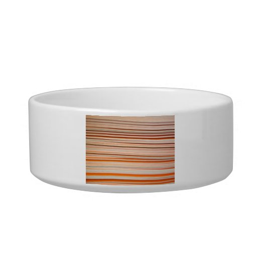 Diseño anaranjado y blanco de la raya ondulado tazón para agua para gatos
