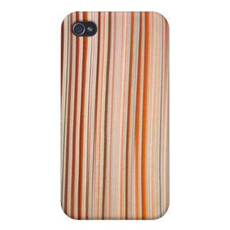 Diseño anaranjado y blanco de la raya ondulado iPhone 4 fundas