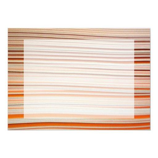 Diseño anaranjado y blanco de la raya ondulado invitación 12,7 x 17,8 cm
