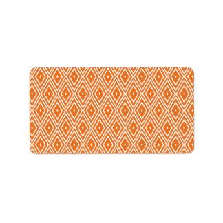 Diseño anaranjado y blanco de los diamantes etiquetas de dirección