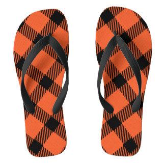 Diseño anaranjado y negro de la tela escocesa