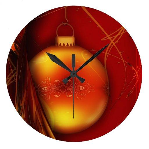 Diseño anaranjado y rojo de la bola del advenimien reloj redondo grande
