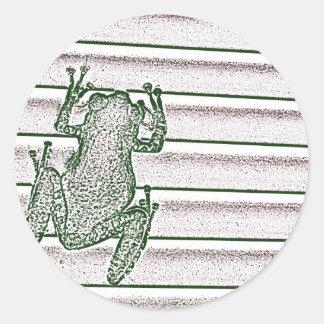 diseño anfibio del diseño rosado blanco verde de pegatinas redondas